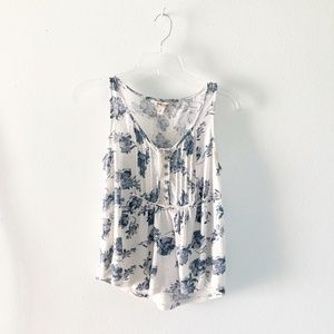 Lucky Brand | Blue Floral Babydoll Tank Top XS
